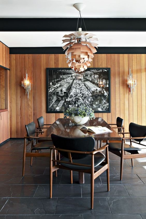 Piso de ardósia preta para sala de jantar moderna