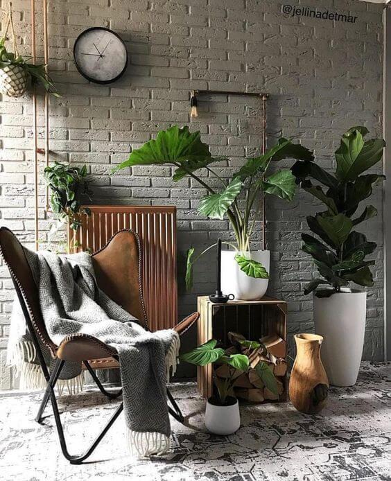 Poltrona butterfly com manta cinza e decoração com plantas