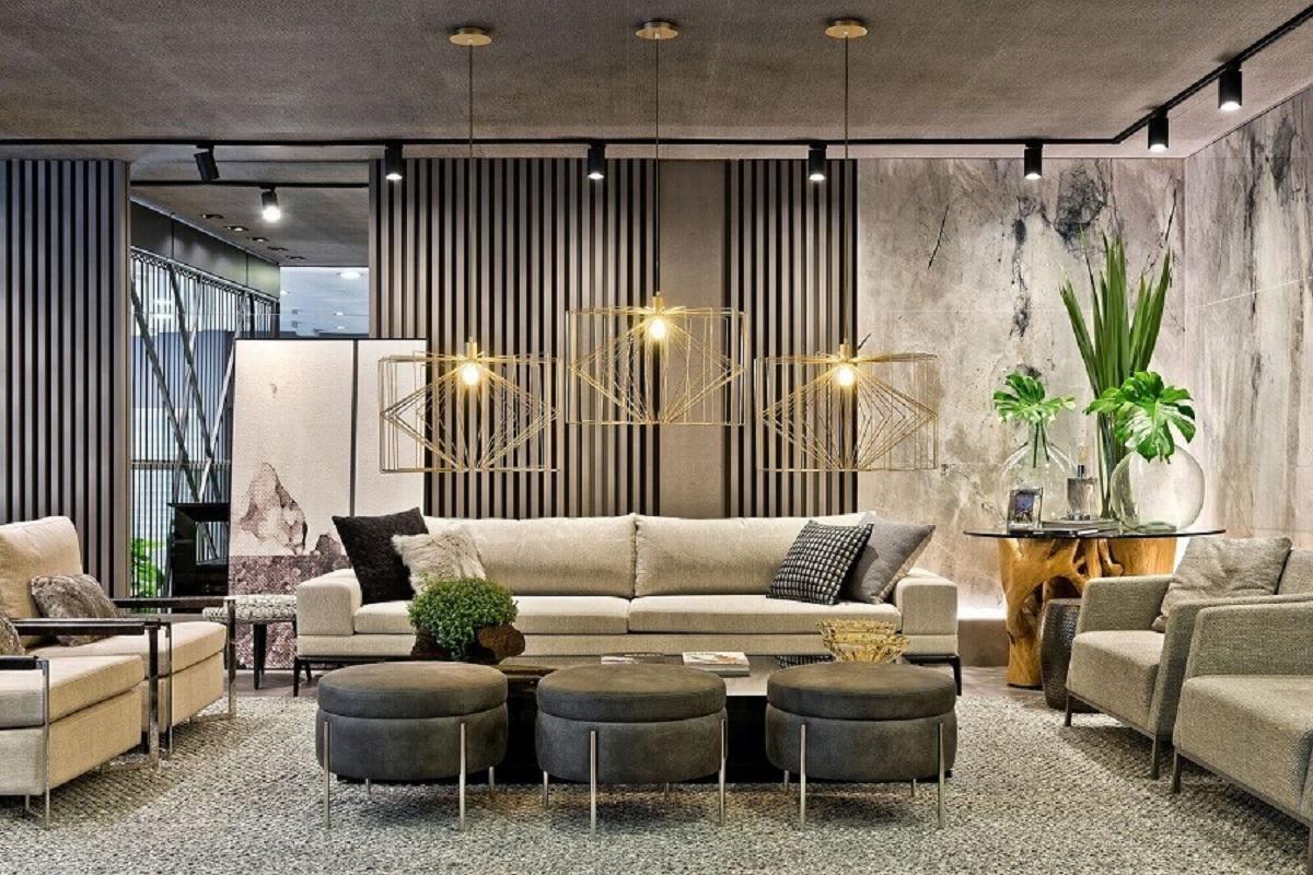 Puff banqueta decorativa para sala de estar grande e moderna Foto Ruan Arquitetura e Interiores