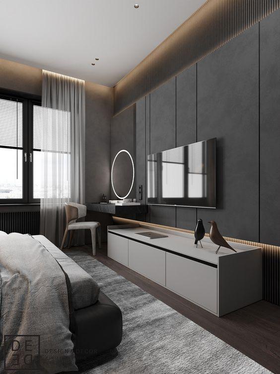 Rack para quarto branco com painel cinza
