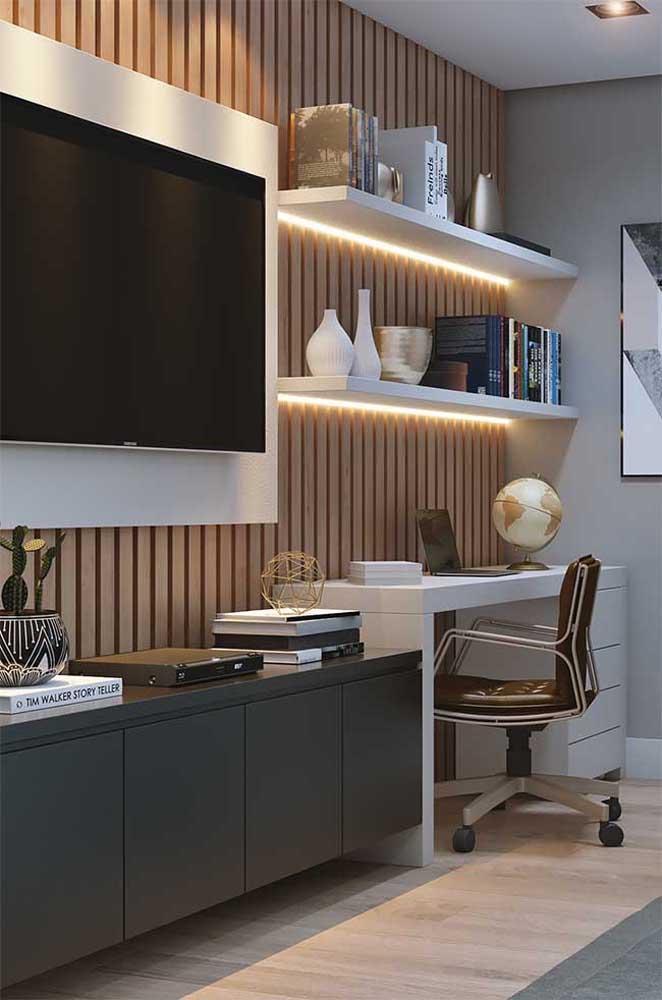 Rack para quarto planejado com escrivaninha para home office