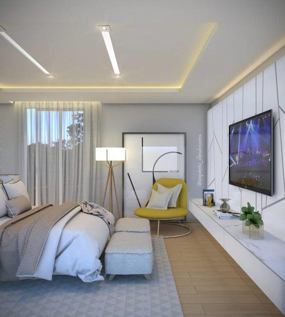 Rack para quarto suspenso com painel para tv com papel de parede