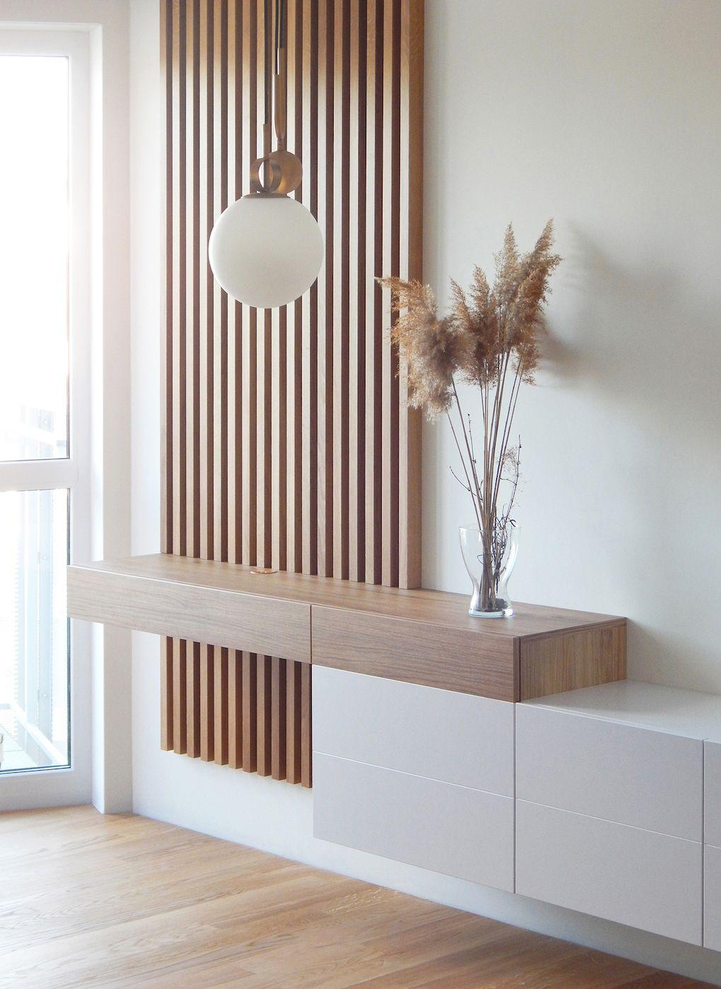 Rack para quarto suspenso com ripa de madeira