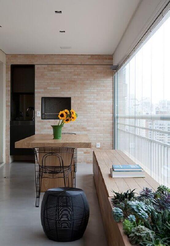 Revestimento tijolinho à vista para decoração de apartamento com varanda gourmet Foto Pinterest
