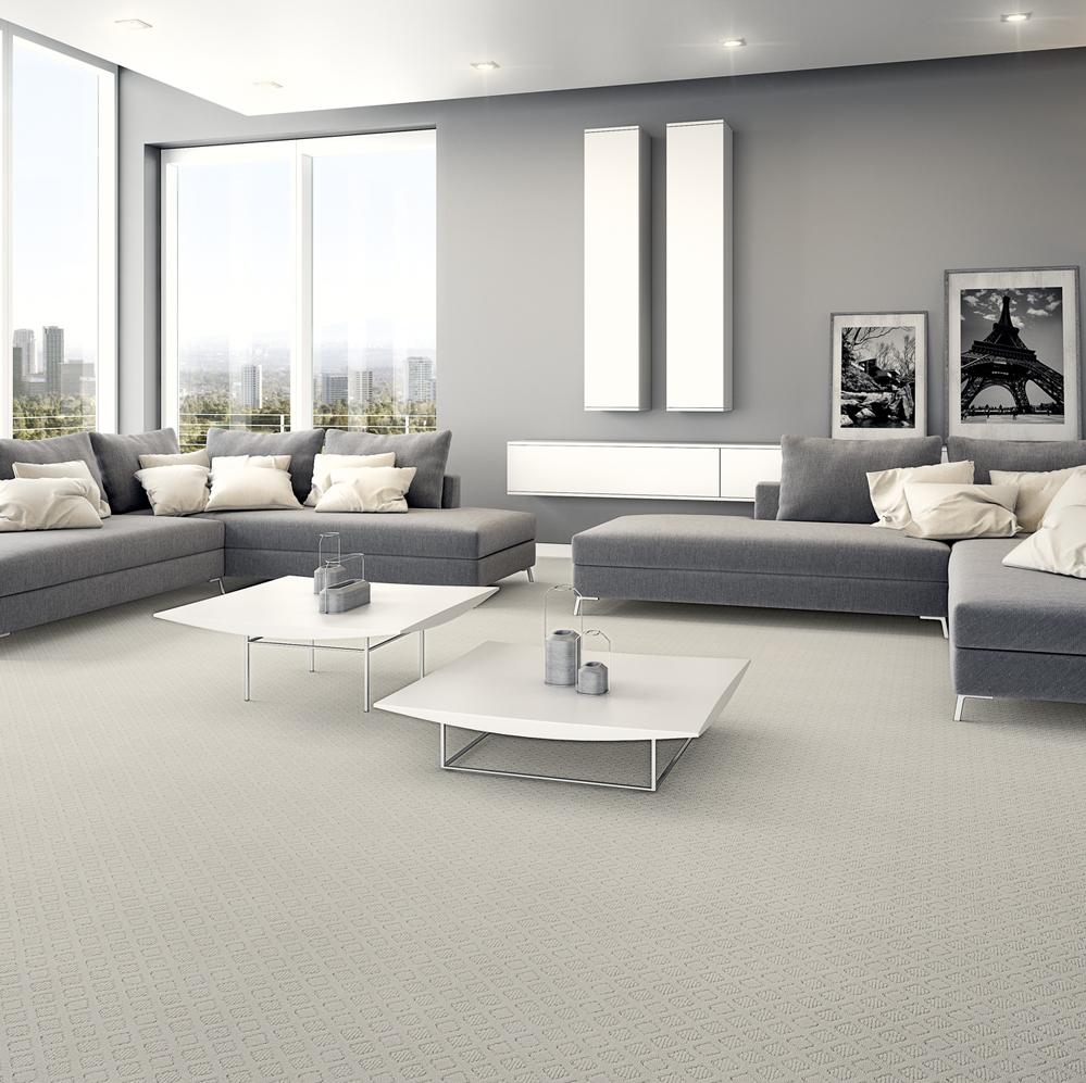 Sala cinza com carpete monet em cinza