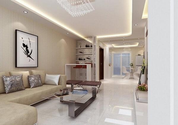 Sala de estar clean com teto decorado em gesso