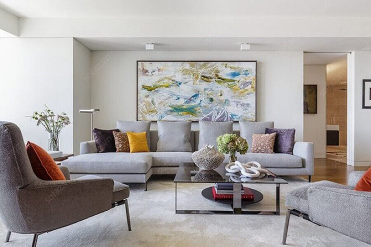 Tipos de sofa cinza com chaise para decoracao de sala branca com quadro grande Foto NEAT Method