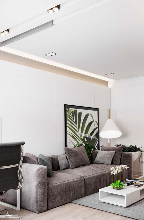 Tipos de sofa cinza para decoracao de sala branca com quadro grande Foto Decor Facil