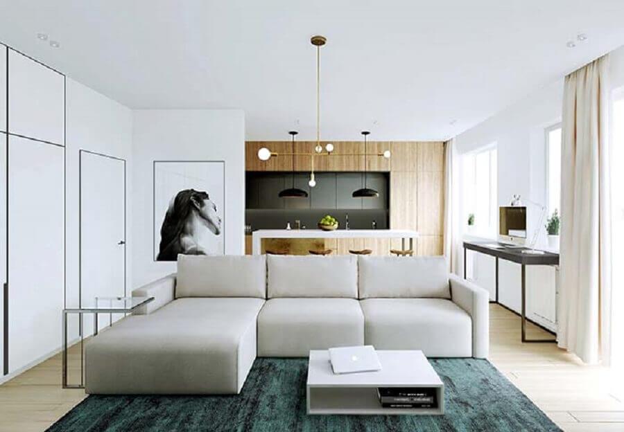Tipos de sofa com chaise modulado para decoracao de sala moderna conceito aberto Foto Behance