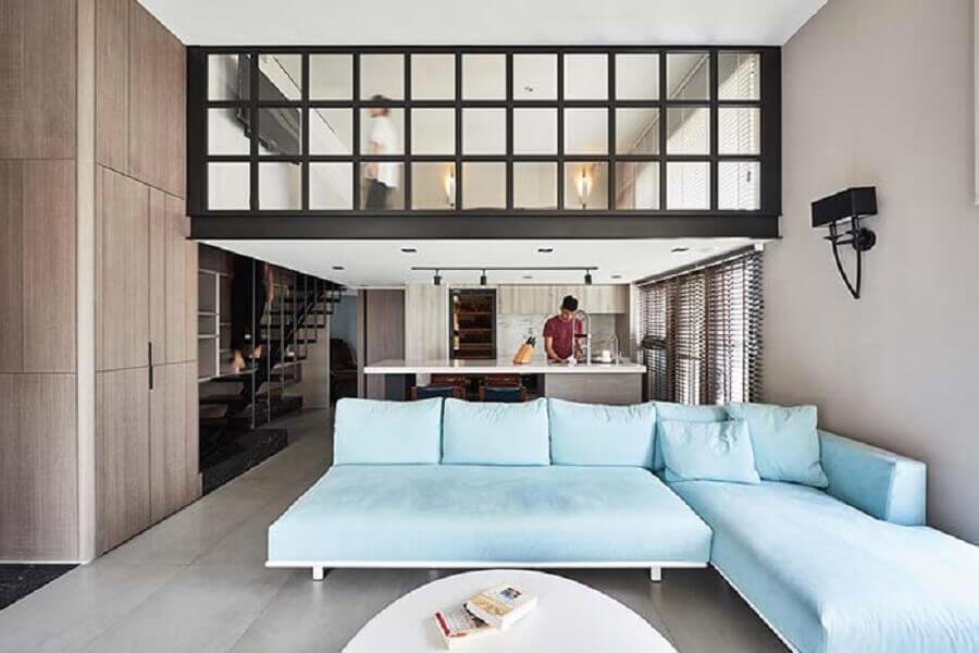 Tipos de sofa com chaise para decoracao de sala com cozinha integrada Foto Behance