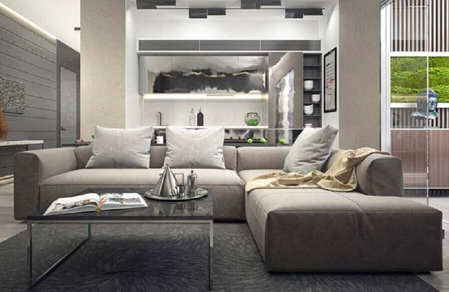 Tipos de sofa modular para decoracao de sala em tons de cinza Foto Decor Facil