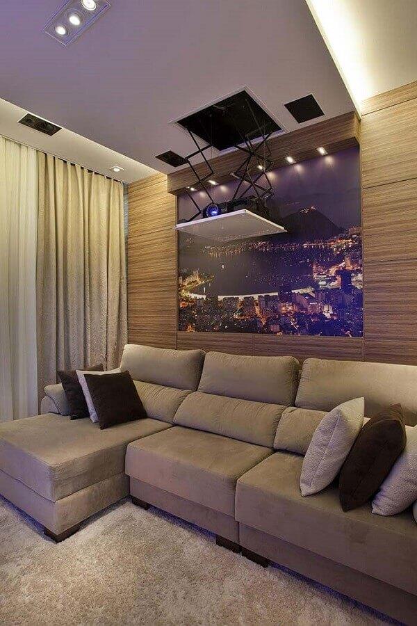 Tipos de sofa retratil para decoracao de sala de TV bege Foto Homify