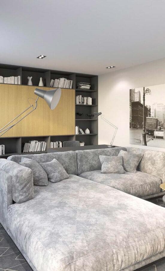 Tipos de sofas cinza grande para decoracao de sala de estar moderna Foto Decor Facil