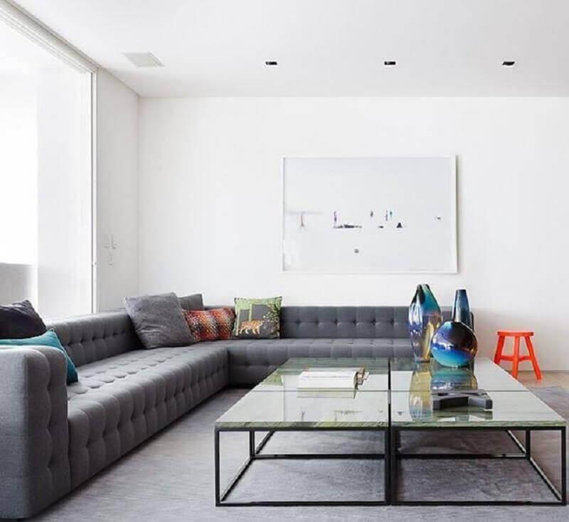 Tipos de sofas de canto grande para decoracao de sala minimalista Foto Suite Arquitetos
