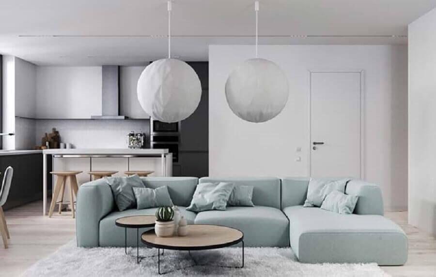 Tipos de sofas modular para decoracao de sala minimalista integrada com a cozinha Foto Home Fashion Trend