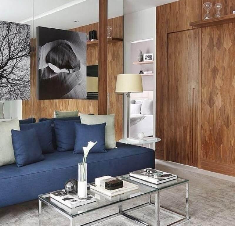 Tipos de sofas sem braco para decoracao de sala moderna com mesa de centro de vidro Foto Mariana Orsi Fotografia