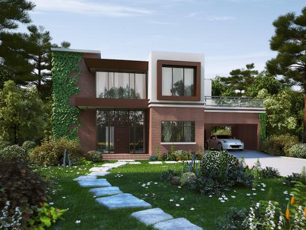 Casa com jardim e garagem coberta