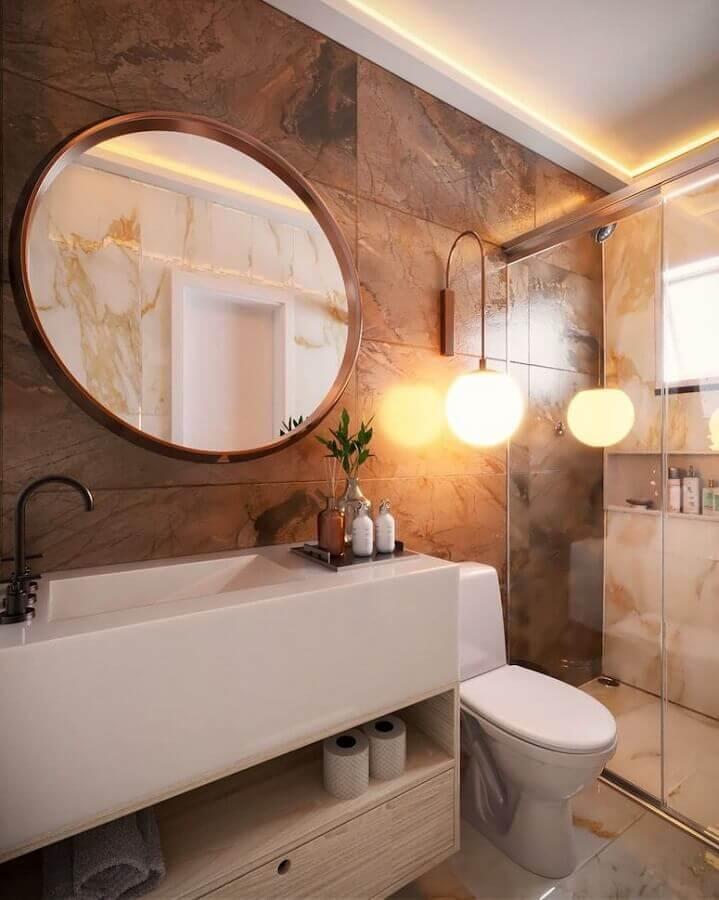 arandela moderna para decoração de banheiro bonito Foto EMI Arquitetos