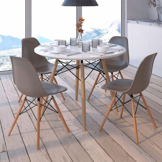 Área gourmet com mesa eiffel redonda para 4 lugares