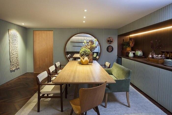 Buffet de luxo para sala de jantar embutido. Fonte: Casa Cor 2016