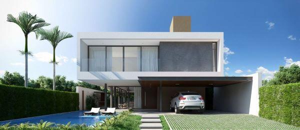 Casa com fachada de vidro moderna