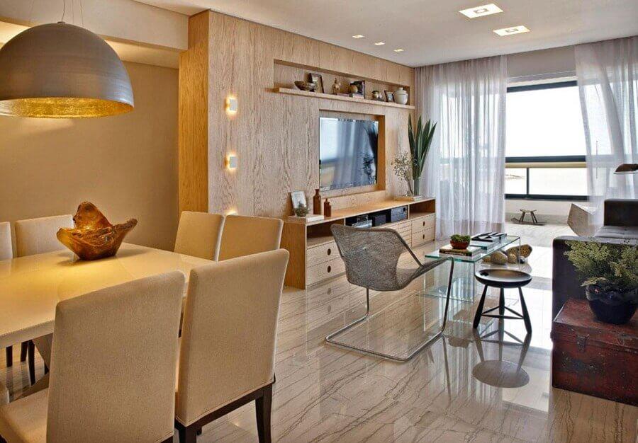 Cores neutras para decoração de sala de estar e jantar integrada Foto Tatiana Coutinho + Roberta Vilela