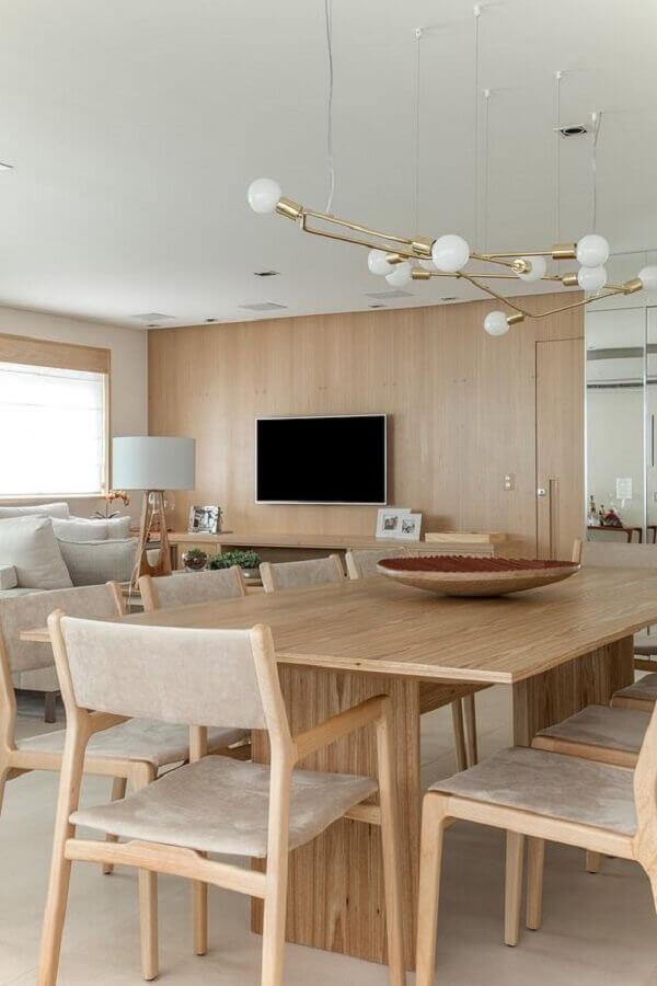 Cores neutras para decoração de sala de estar e jantar integrada moderna Foto D81 Design de Interiores e Arquitetura