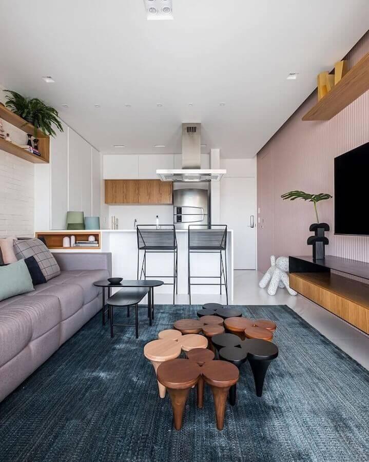 Decoração com banqueta moderna para sala e cozinha americana integradas Foto Zalc