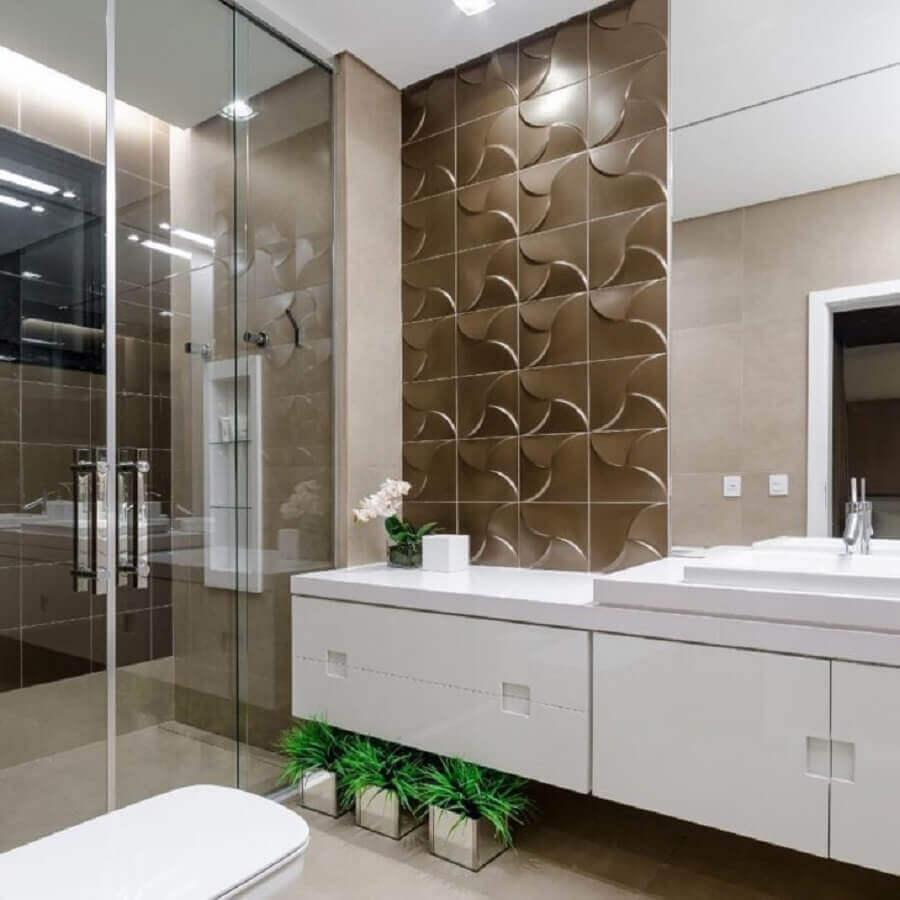 Decoração com revestimento 3D para banheiro bonito Foto Okha Arquitetura e Design