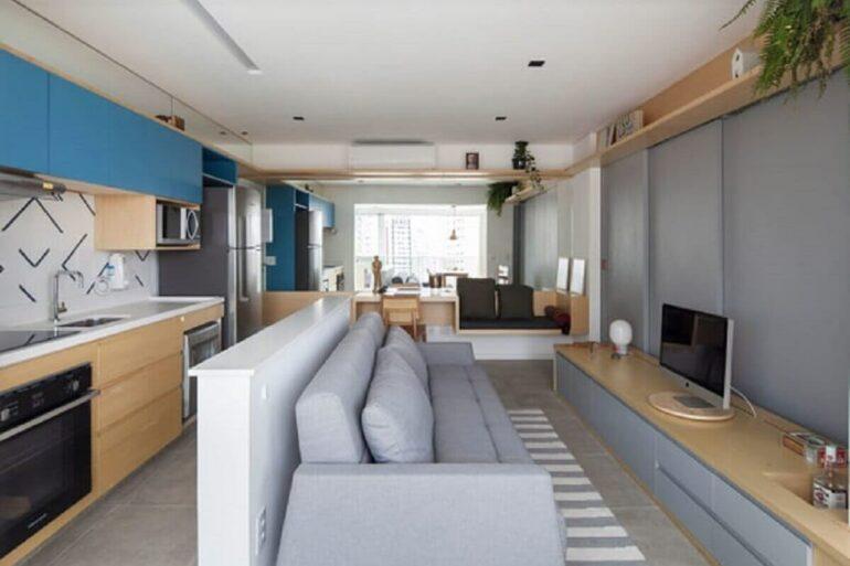 Decoração de casa conceito aberto pequena com moveis planejados Foto Studio Bra