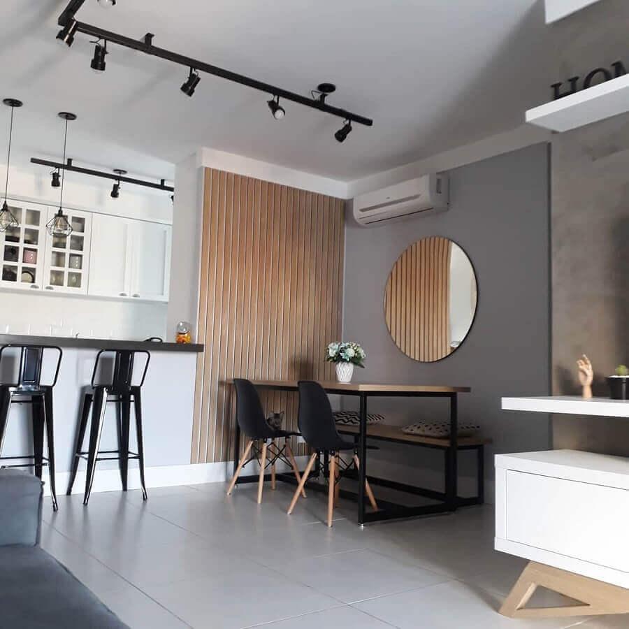 Decoração estilo industrial com espelho redondo para sala de jantar Foto Meu Ap 42