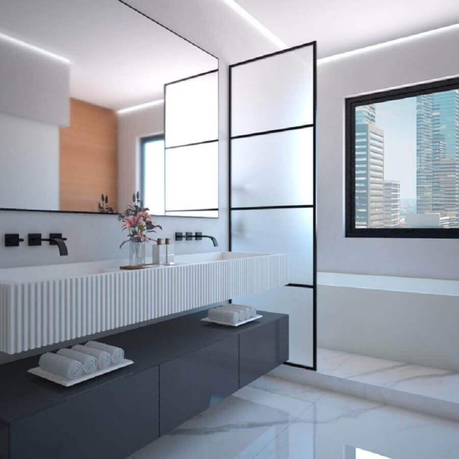 Decoração minimalista para banheiros bonitos e modernos Foto Mariana Capistrano F Cardim