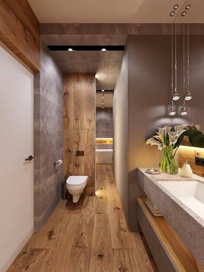 Decoração moderna com cimento queimado para banheiro com piso de madeira Foto Behance