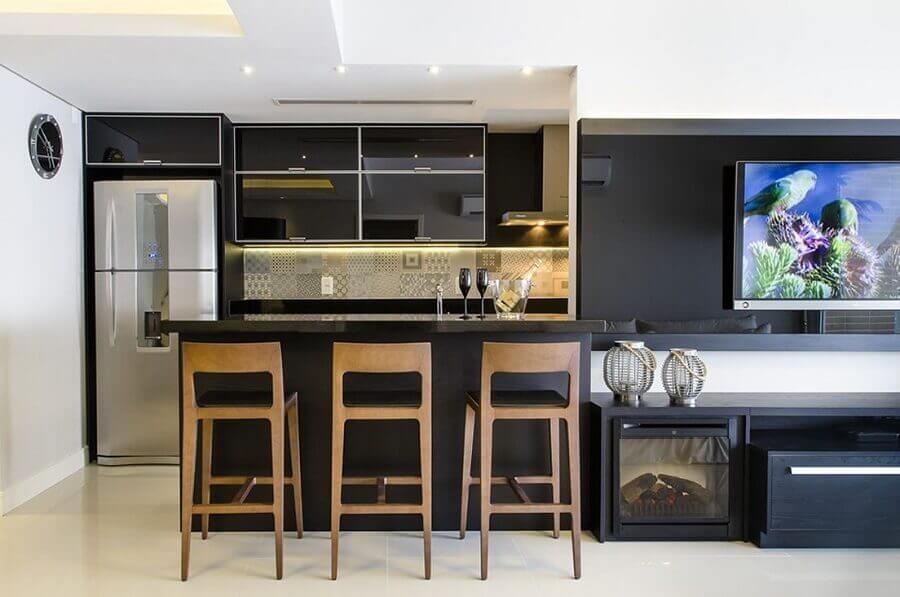 Decoração preto e branco para sala e cozinha americana integradas Foto Favorita Movdecor Favorita