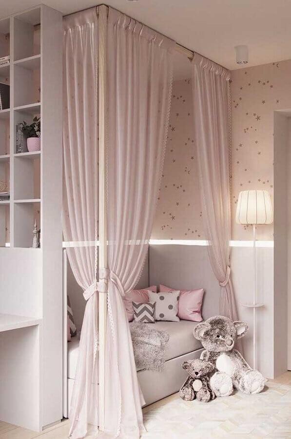 Dossel com mosquiteiro para decoração de quarto de menina rosa e cinza Foto Decor Facil