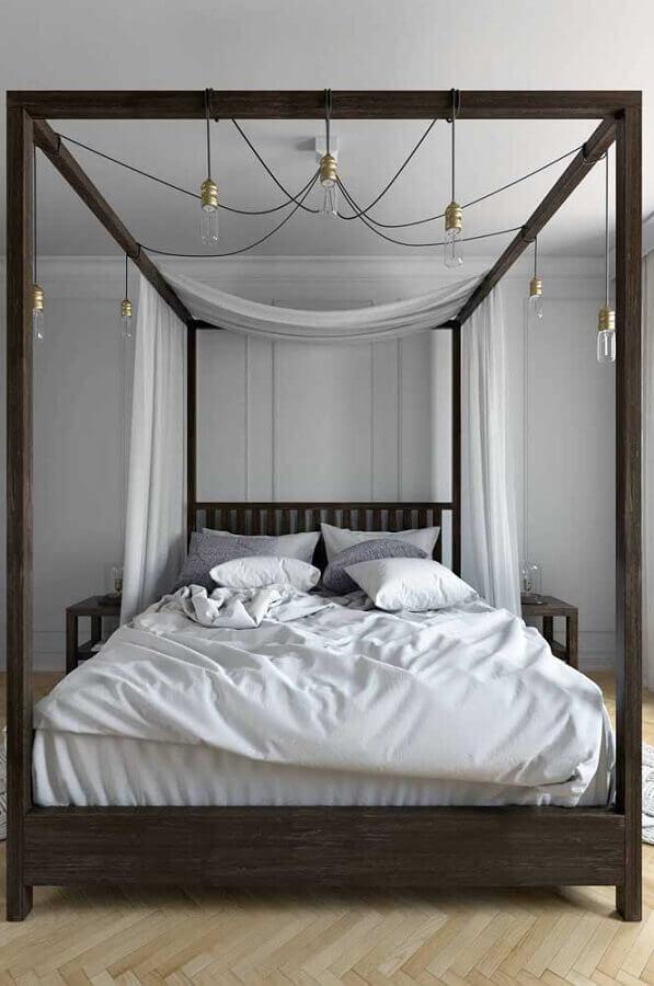 Dossel com mosquiteiro para quarto de casal moderno decorado em tons de cinza Foto Decor Facil