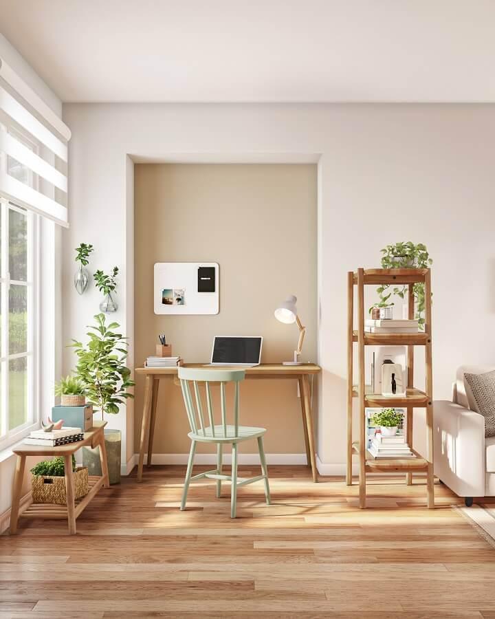 Escrivaninha de madeira para decoracao de home office simples TokeStok