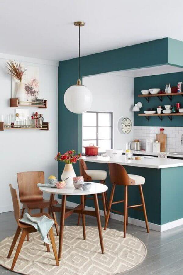 Luminária redonda para decoração de sala e cozinha americana pequena integradas Foto Houzz