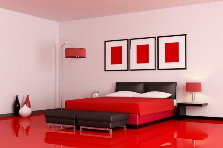 O piso vermelho de porcelanato líquido traz personalidade para a decoração do ambiente. Fonte: Harmony Béton
