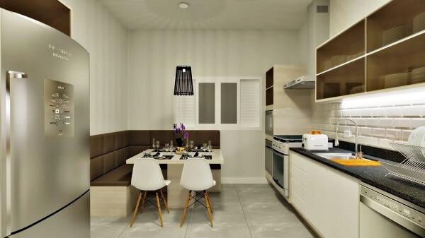 Otimize o espaço da cozinha e crie um canto alemão moderno. Fonte: Anderson Rohling