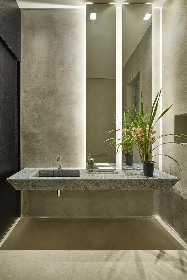 Parede de cimento queimado para decoração de banheiro bonito e moderno Foto Eduarda Correa