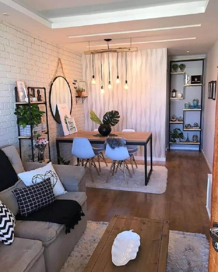 Parede tijolinho branco para decoração de sala de estar e jantar integradas pequenas Foto Minha Casa Decorada