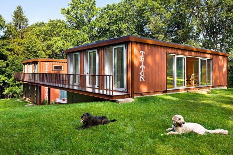 Projeto de construção container para casa grande com jardim Foto Construct Blog.