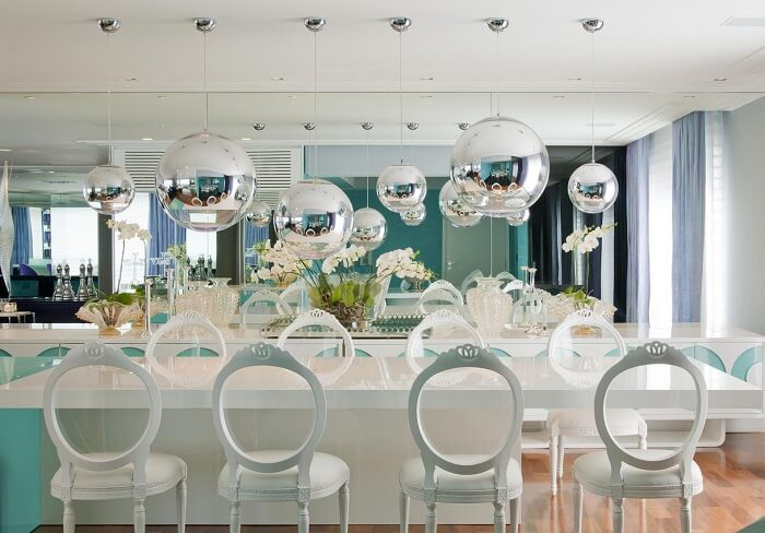 Projeto de sala de jantar de apartamento de luxo. Fonte: Brunete Fraccaroli