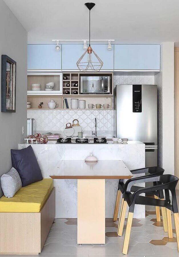 Revestimento 3D para casa com sala e cozinha americana pequena Foto Decor Fácil