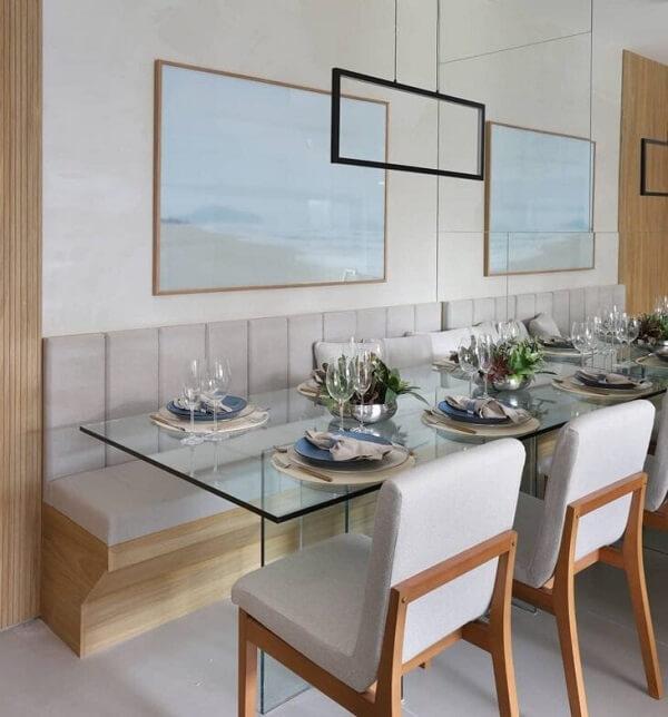 Sala de jantar com canto alemão moderno. Fonte: Mandril Arquitetura