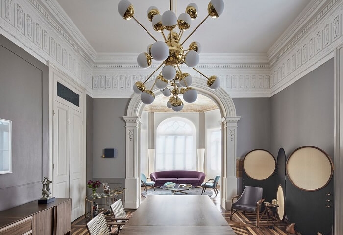 Sala de jantar de luxo moderna em tons de cinza. Fonte: Casacor MG 17