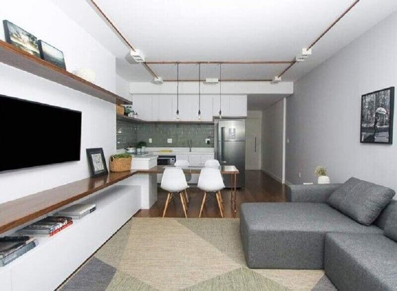 Tapete geométrico para decoração de sala de estar e jantar integrada Foto SP Estúdio