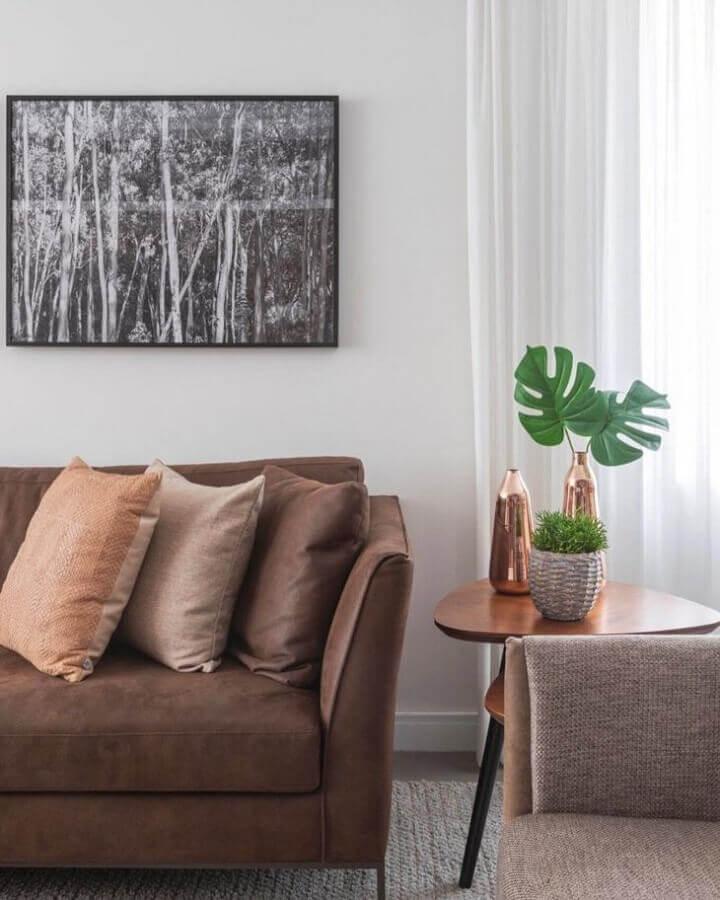 Vasos com plantas para decoração de sala com almofadas para sofa marrom Foto Karen Pisacane
