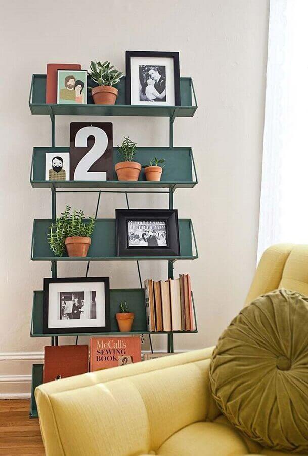 Vasos com plantas para decoração de sala com estante pequena Foto HousesDesign